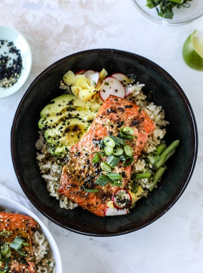 Whole30 Butter Salmon Rice Bowl Easy Healthy Dinner Recipes