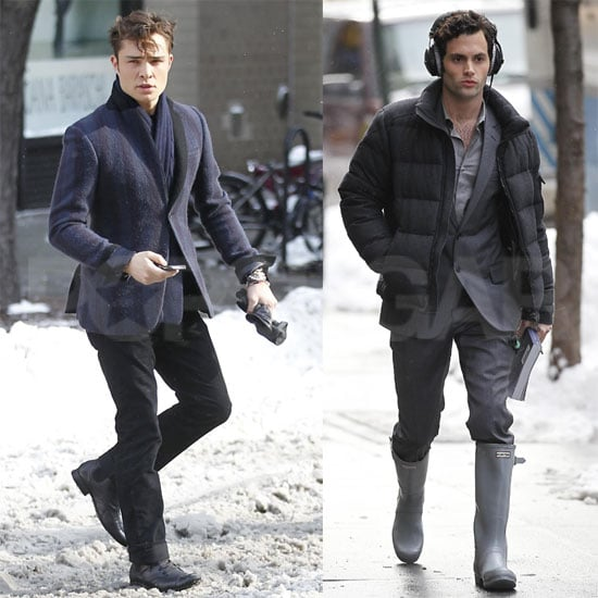 Pictures of Ed Westwick and Penn Badgley Arriving on the Snowy NYC Set of Gossip Girl