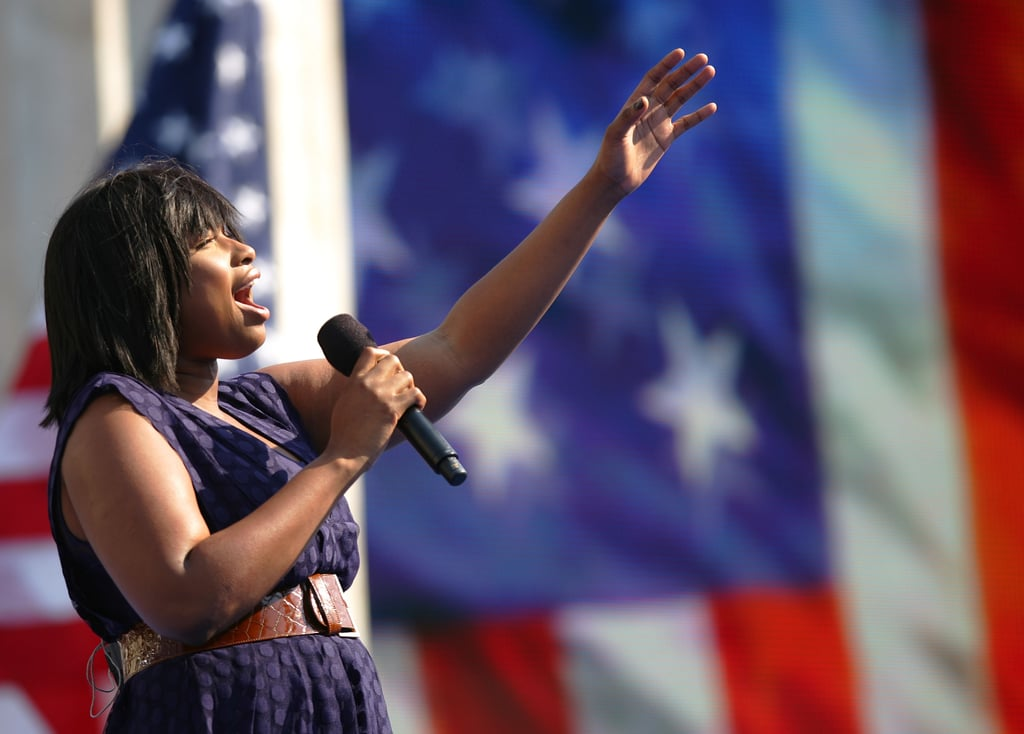 In August 2008, Jennifer Hudson sang the national anthem with a huge American flag in the background in Denver, CO.