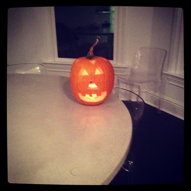 Bethenny Frankel went with a traditional carving for her Halloween pumpkin. Source: Instagram user bethennyfrankel