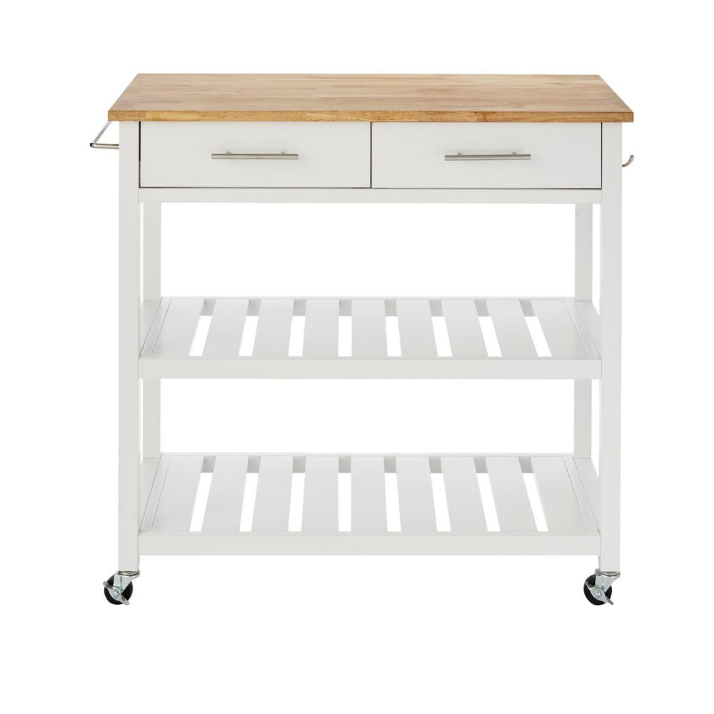 StyleWell Glenville White Double Kitchen Cart