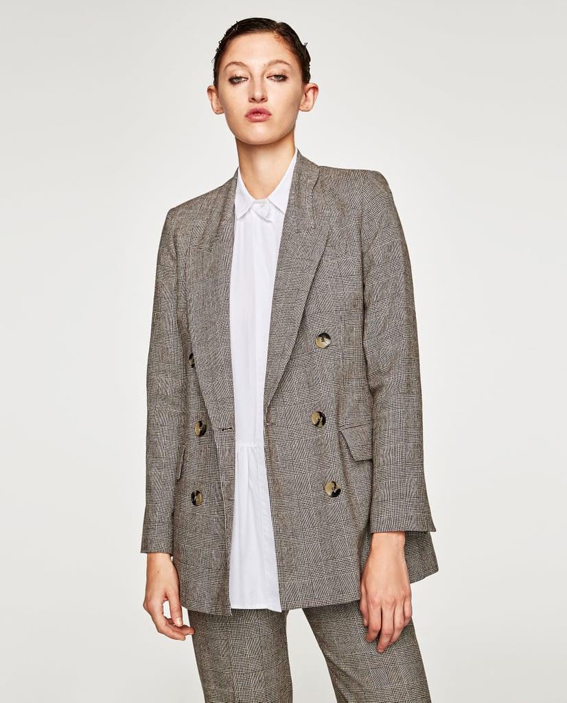 Zara Checked Double Breasted Jacket