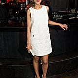 For the Django Unchained UK afterparty, Kerry slipped into a mod LWD by Dolce & Gabbana. The textural intrigue was only furthered by the sweet button detailing at the hips. She accented her look with stark white pumps and kept her earlier updo and berry lip color the same.