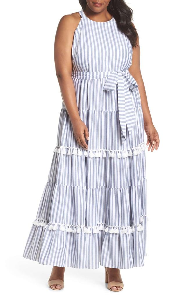 0c07b962d5a Eliza J Tiered Stripe Halter Maxi Dress