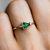 14K Yellow Gold Trillion Emerald With Diamond Cluster Ring