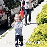 Jennifer Garner and Seraphina Affleck looked excited to pick up Violet Affleck from a ballet class in LA.