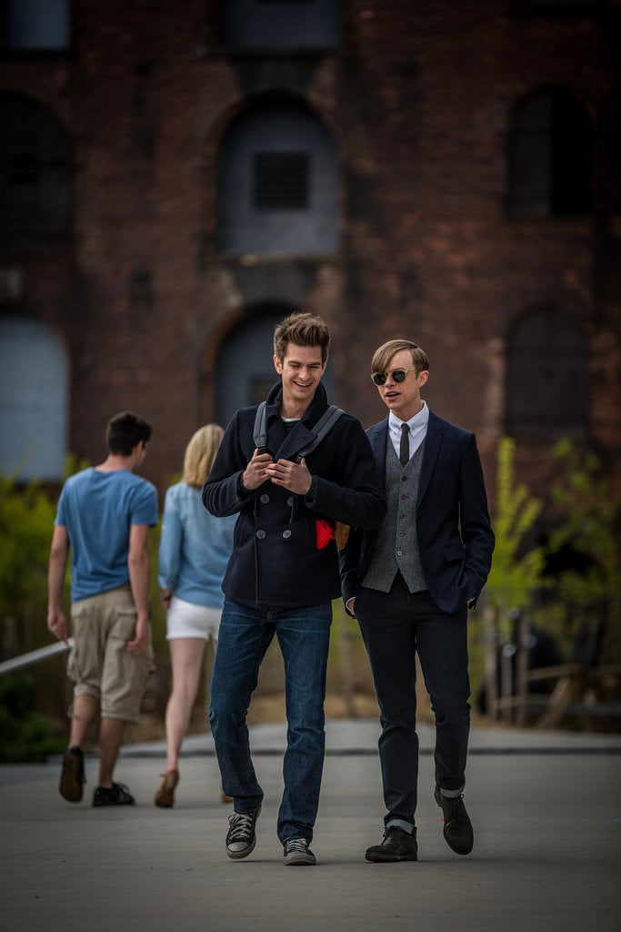 Andrew Garfield as Peter Parker and Dane DeHaan as Harry Osborn in The Amazing Spider-Man 2.