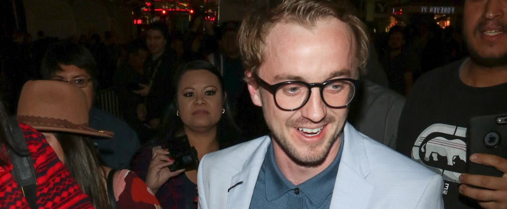 Tom Felton Holding Rose at Beauty and the Beast Premiere