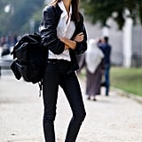 Here's the Parisian-chic way to work your white low-tops.