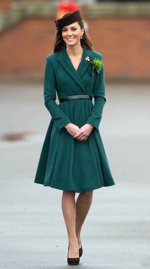 Kate has just the right youthfulness to pull off a conservative coat dress like the one she rocked for a St. Patrick's Day parade in 2012.