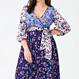 1901 Colorblock Floral Faux-Wrap Dress