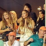 Fergie, Jennifer Lopez, and Kim Kardashian cheered on the Miami Dolphins from box seats in September 2010.