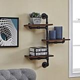 Danya B. Three-Tier Vertical Pipe Industrial Wall Shelf in Dark Chestnut