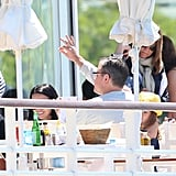 Matt Damon ate lunch with his family in Cannes.