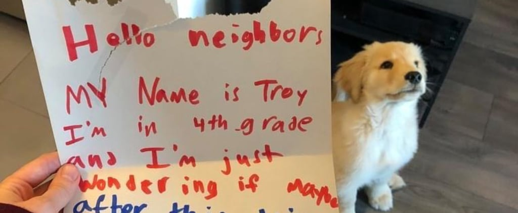 Kid Writes Note to Neighbours Offering to Walk Puppy