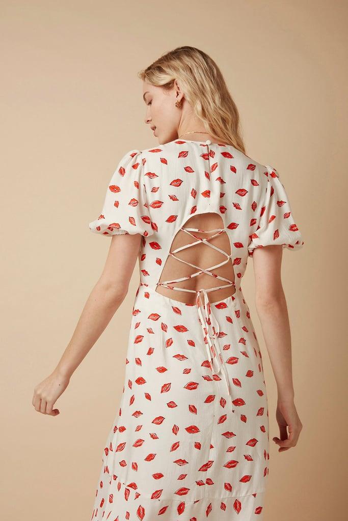 Omnes FSC Viscose Astrid Puff Sleeve Tie Back Midi Tea Dress in Lips Print