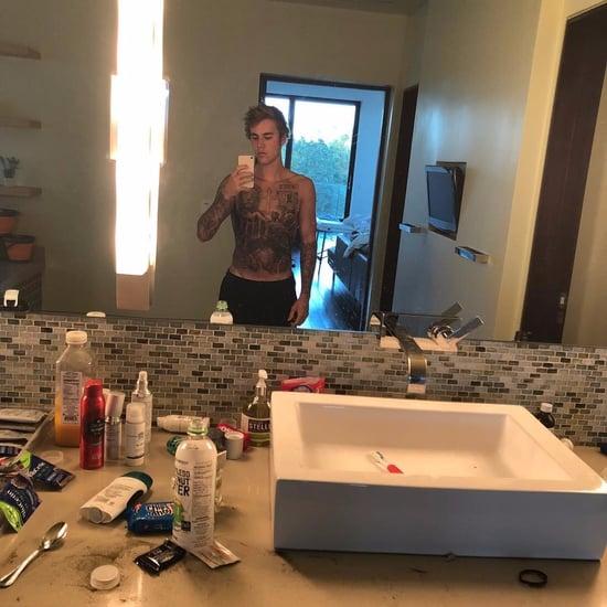 Justin Bieber Stomach Tattoo Photos
