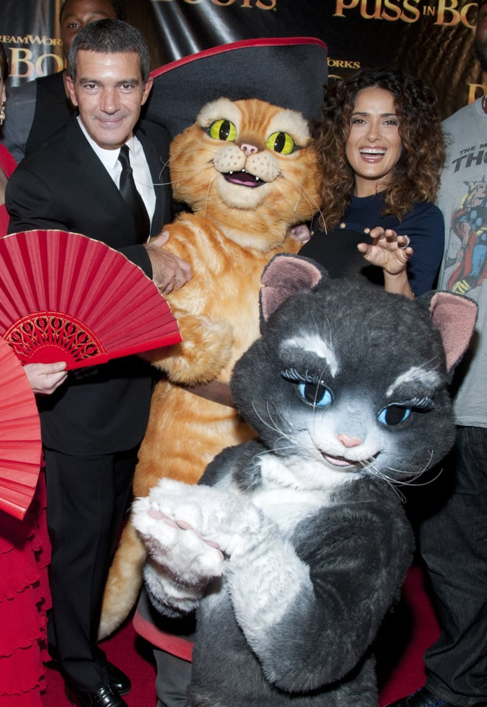 Salma Hayek and Antonio Banderas showed up in San Francisco for a premiere of Puss in Boots last night. The stars hit the red carpet in front of fans after a group of flamenco dancers entertained the audience. We chatted with the duo about their history working together, and Salma shared how much her 4-year-old Valentina loved the animated movie. Salma's daughter has been traveling with her around the country as she and Antonio promote the 3D film. They recently made stops in Chicago, Miami, and Dallas, and Salma and Valentina visited an aquarium during their short time in Florida. Check out our full red carpet interview with Salma and Antonio later today in PopSugar Rush!