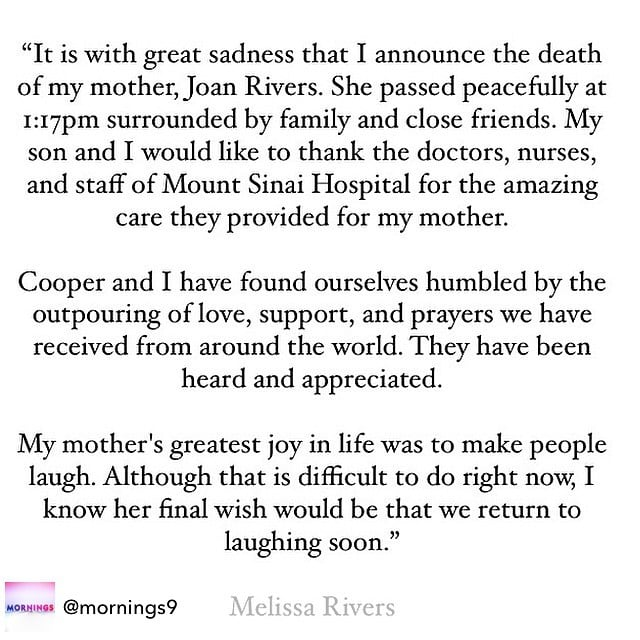 The Heartbreaking Statement Melissa Rivers Released This Morning