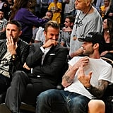 Robbie Keane, David Beckham and Adam Levine attended a basketball game between the Dallas Mavericks and the Los Angeles Lakers at Staples Center.