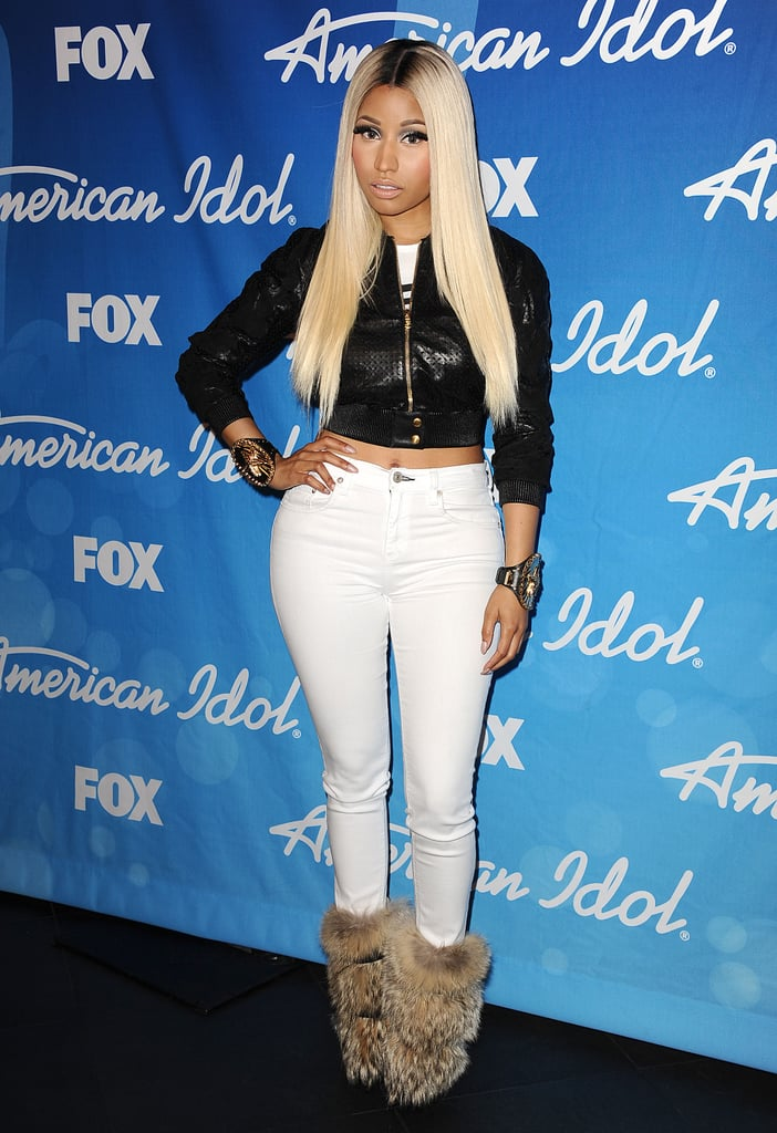 Nicki Minaj wore furry boots.