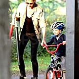 Gisele Bundchen helped guide Jack Brady on a bike.