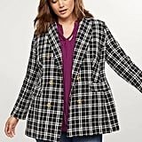 Lane Bryant Double Breasted Blazer — Plaid Tweed