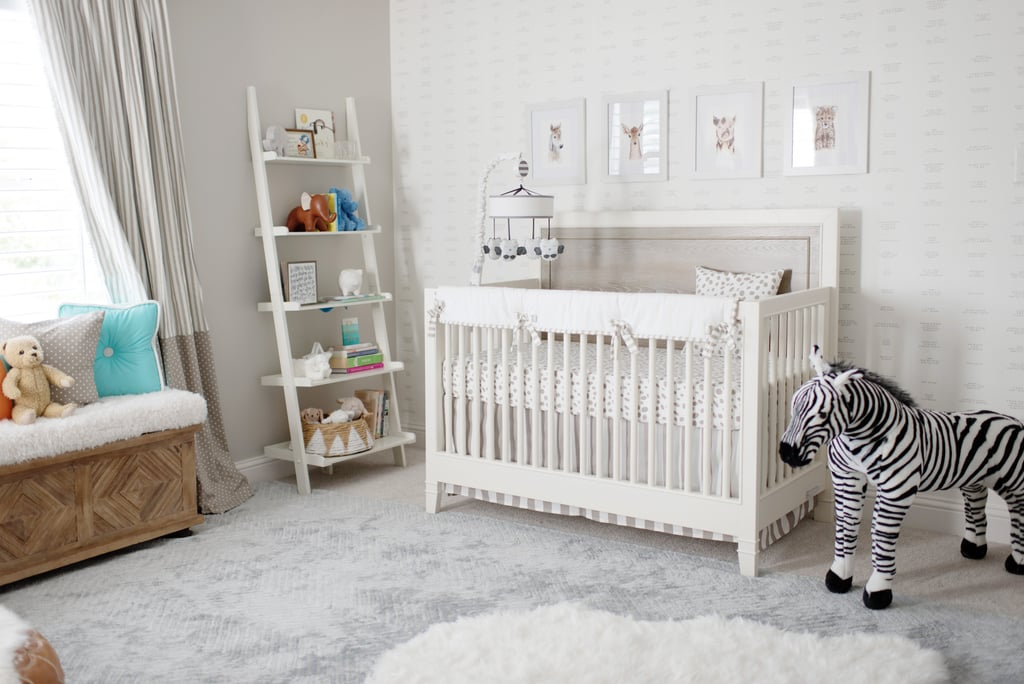 """I prefer neutral designs, so not knowing the gender while designing the nursery wasn't a huge challenge. I like to add dimension with different textures in the whites, creams, and grays so the room would feel comfortable for the baby and me, and I think we nailed it!"" Catherine said. MyRoom Convertible Crib Zebra Plush Rocking Animal"