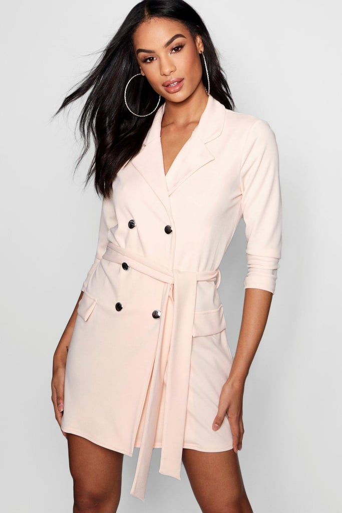 25c4ac084662 Boohoo Double Breasted Belted Blazer Dress | Meghan Markle Pink ...