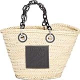 Loewe Chain Handle Woven Palm Market Basket