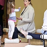 Jennifer Garner made funny faces at Seraphina Affleck during a trip to the nail salon in February 2012.