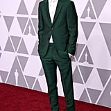 Timothée looked dapper in a green Gucci suit at the 2018 Oscar Nominees Luncheon.