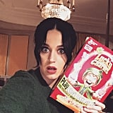 Katy Perry received a surprise Lucky Charms cereal box from her mom for St. Patrick's Day.