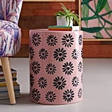 Ceramic Flower Stamped Side Table