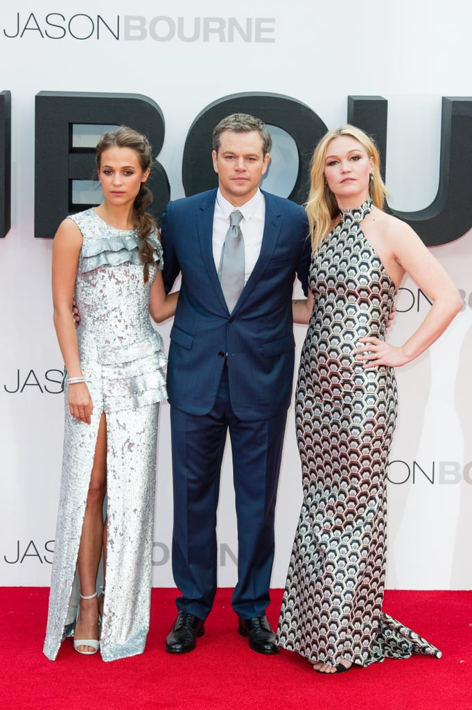 Matt Damon was unsurprisingly surrounded by a handful of beautiful women at the UK premiere of his latest film, Jason Bourne, in London on Monday. The actor — who began promoting the fifth installment of the Bourne franchise last month — was accompanied by wife Luciana Barroso and his leading ladies, Julia Stiles and Alicia Vikander. While the film doesn't hit theaters until July 29, several teasers as well as a trailer have already been released in anticipation of the movie's debut. Just last week, Matt and Alicia touched down in South Korea, where they attended a photo call and press conference for the film. Read on for more photos, then prepare to laugh as you watch this hilarious video of Matt pranking some fans.