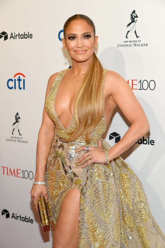 Jennifer Lopez Gold Zuhair Murad Dress at Time 100 Gala 2018 ...
