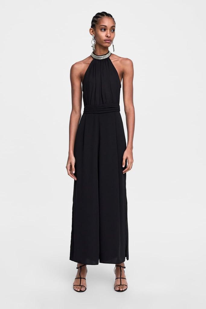 211955ee75 Zara Jewel Appliqué Halter Jumpsuit