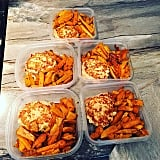 Buffalo chicken burgers with a side of Cajun sweet-potato fries.