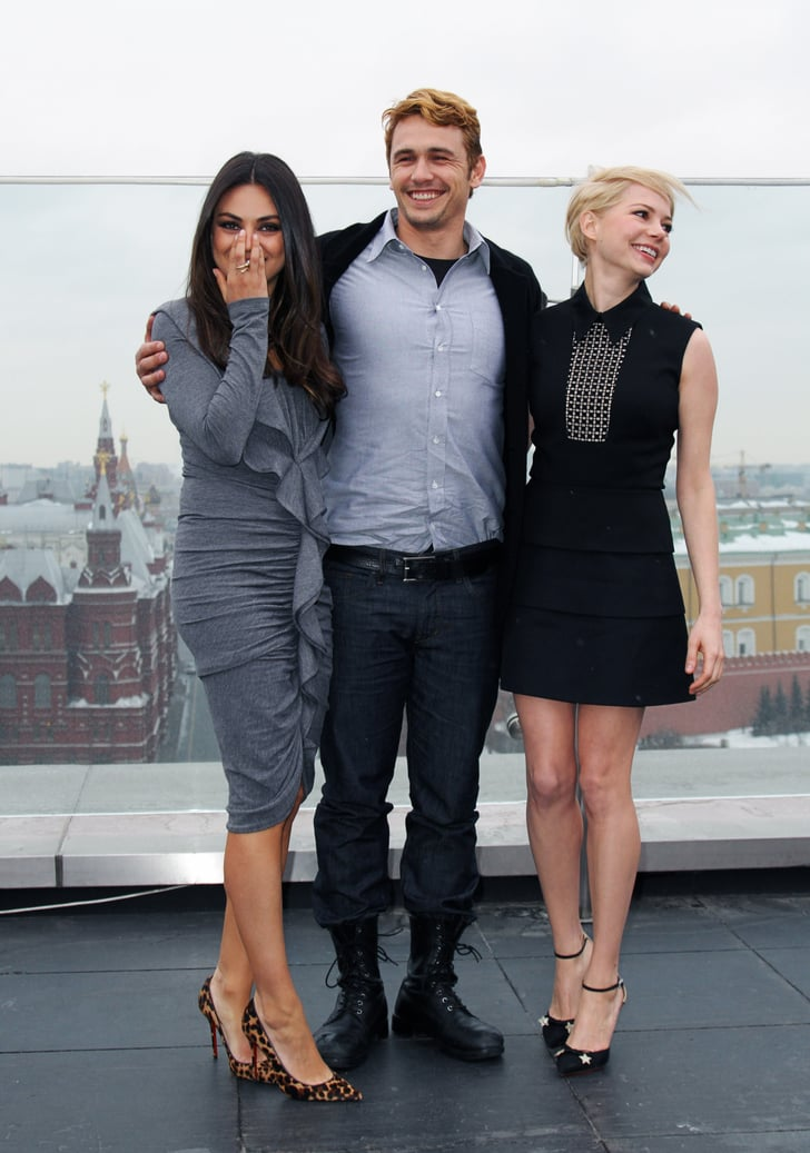 Michelle Williams and Mila Kunis had a laugh as they posed with James Franco in Moscow.