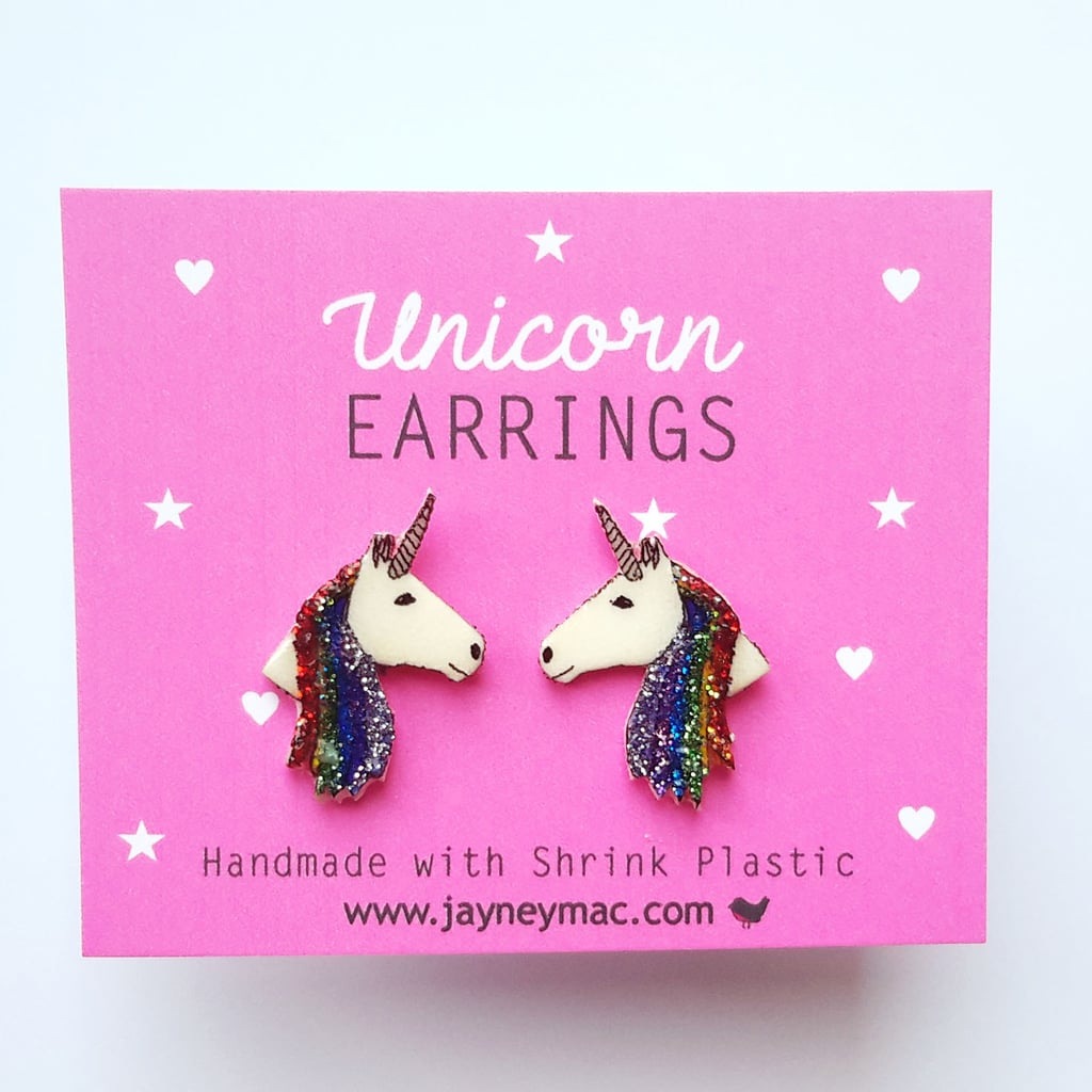 Rainbow Glitter Unicorn Earrings ($9)