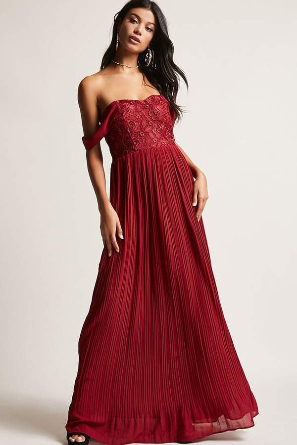 Forever 21 Soieblu Crochet Off-the-Shoulder Gown