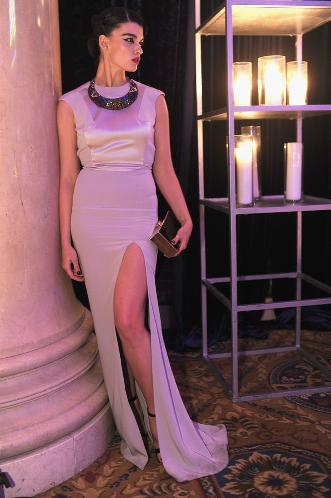 Crystal Renn, wearing Gabriela Cadena, at amfAR's New York Gala.