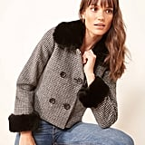 Reformation Templeton Faux Fur Trim Coat