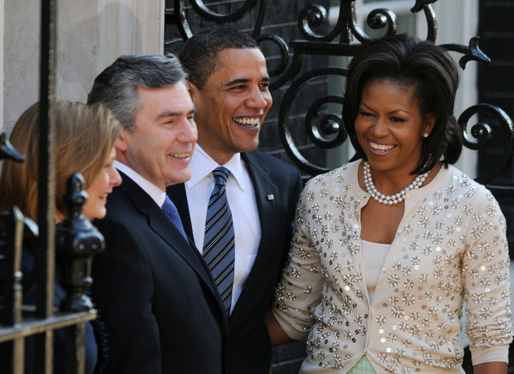 While in London in April 2009, the Obamas smiled alongside then-Prime Minister of Britain Gordon Brown and his wife, Sarah.