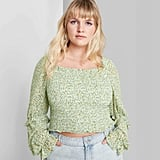 Wild Fable Plus Size Floral Print Long Sleeve Square Neck Smocked Top
