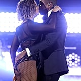 "They shared a smooch after a steamy performance of ""Drunk in Love"" at the Grammys in January 2014."