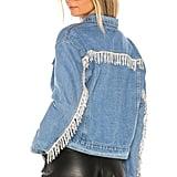 Superdown Raya Rhinestone Fringe Jacket in Light Blue Wash