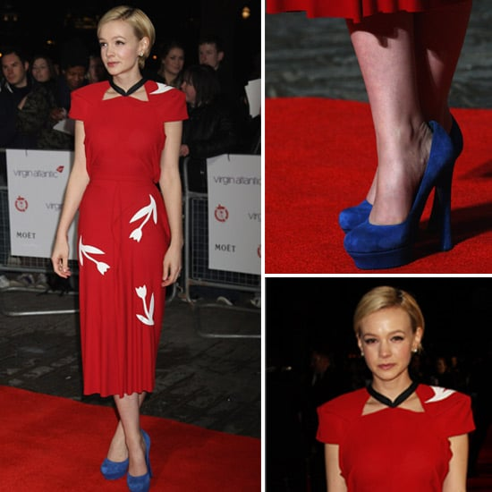 Carey Mulligan Teamed Blue YSL Heels With Red Roland Mouret For The Film Critics' Circle Awards in London