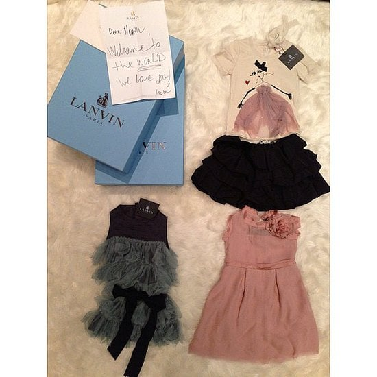 "Kim posted a picture on Instagram after Lanvin's Alber Elbaz gifted their daughter, Nori, three adorable mini Lanvin ensembles, along with a note that read, ""Dear North, Welcome to the world — We love you!"" That was just one of the gift packages the little one received.  Source: Instagram user kimkardashian"