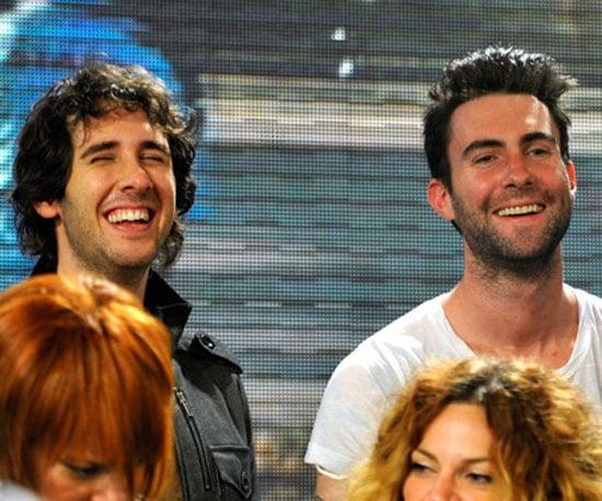 Slide Photo of Josh Groban and Adam Levine Singing We Are the World
